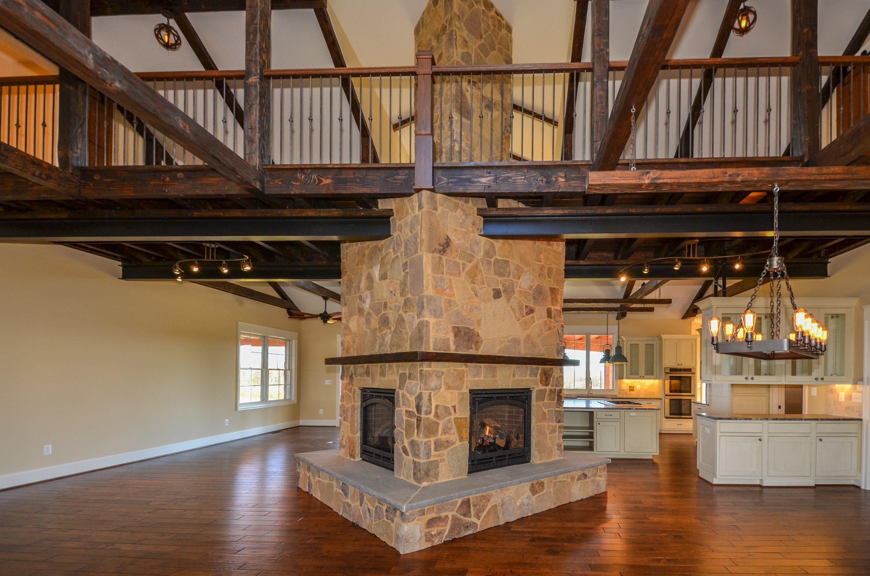 finishing details include spectacular beams and stonework