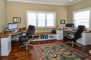 Shared office featuring custom built-in desk