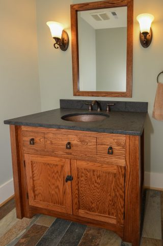Powder room cabinet built from local wood by Fairhaven