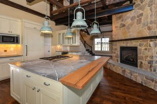 Kitchen island made from salvaged barn wood